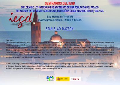 Exploring the birth intervals of a population from the past. Relations between conception month, nutrition and climate. Alghero (Italy) 1866-1935. CCHS-CSIC. (Madrid), 25  February 2020.