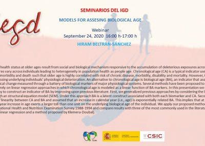 Models for assessing biological age. Webinar, 24 September 2020