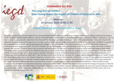 The Long-Arm of Conflict: How Timing Shapes the Impact of Childhood Exposure to War. Webinar, 29 October 2020.