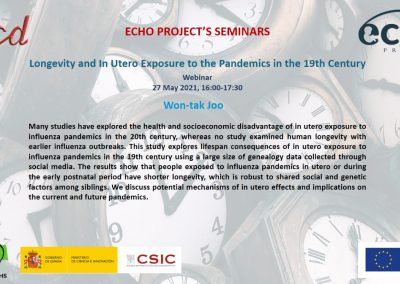 Longevity and In Utero Exposure to the Pandemics in the 19th Century. Webinar, 27 May 2021