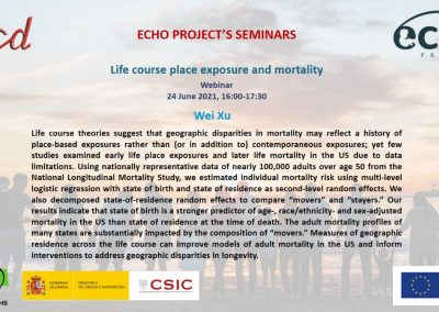 Life course place exposure and mortality. Webinar, 24 June 2021